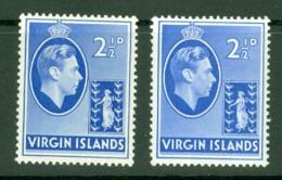 British Virgin Is: 1938/47   KGVI   SG114 / 114a   2½d  [Chalk And Ordinary]  MH - British Virgin Islands