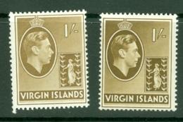 British Virgin Is: 1938/47   KGVI   SG117 / 117a   1/-  [Chalk And Ordinary]  MH - British Virgin Islands