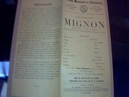 PROGRAMME THEATRE  MUNICIPAL DE  STRASBOUG PIECE THEATRALE MIGNON  Annèe 1923 /2 PAGES - Programmes