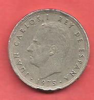 5 Pesetas , ESPAGNE , Cupro-Nickel , 1975 ( 77 ) , N° KM # 807 , N° Y128 - 5 Pesetas