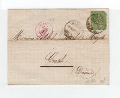 Sur Pli AC Helvetia Assise 25 C. Vert. CAD Genève 1877. Cachet Rouge Ambulant Suisse. CAD Lyon. (1091x) - Marcophilie