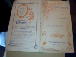 PROGRAMME THEATRE  MUNICIPAL DE  METZ SAISON THEATRALE1922/ 1923 / - Programmes