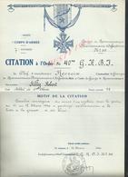 MILITARIA ARMÉE 7 DvInf 40 BRIGADE LE CITATION À L ORDRE BRIGADE CHEF D ESCADRONS RECROIX A SILLY ROBERT : - 1939-45