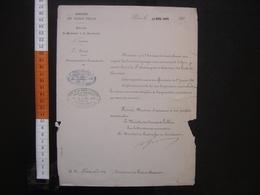 Lettre Entête Ministère Des Travaux Publics NOMINATION Ponts Chaussees 1884 - Diplomas Y Calificaciones Escolares