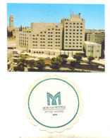 JERUSALEM MORIAH HOTEL YEAR 1991 POSTCARD AND PAD FOR GLASS HOTEL MORIAH - Israel