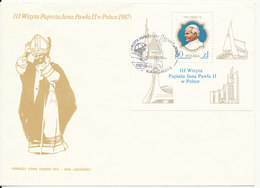 Poland FDC 8-6-1987 Pope Johannes Paul II Minisheet With Cachet - FDC