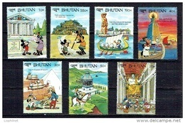 BHOUTAN BHUTAN 1990, MERVEILLES DU MONDE, 7 Valeurs, Neufs / Mint. Séries Courtes / Short Sets - Disney