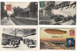 52 CP(SNCF Liancourt,Poissy,Cata Ponts De Cé) Ardoisières(Réfectoire)Café Restau+Marché+Folk+Fant+Aviat+Milit+Chats N°18 - Cartes Postales