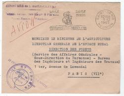 Enveloppe De Ministère De L'Agriculture à St Denis De La Réunion De 1965- Tricentenaire - Peuplement - Marcophilie (Lettres)