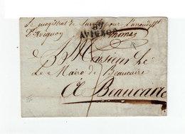 Sur Lettre Cachet Linéaire 89 Avignon Pour Beaucaire. Cachet Magistrat De Sureté Trib. Ière Inst. Avignon. Taxe. (1095) - 1801-1848: Précurseurs XIX
