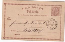 ALLEMAGNE 1874 ENTIER POSTAL/GANZSACHE/POSTAL STATIONERY CARTE DE HAMM - Entiers Postaux