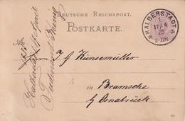 ALLEMAGNE 1885 ENTIER POSTAL/GANZSACHE/POSTAL STATIONERY CARTE DE HALBEERSTADT - Entiers Postaux