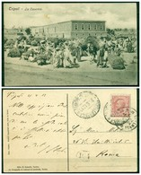 CARTOLINA - V8585 COLONIE ITALIANE TRIPOLITANIA 1912 Cartolina Illustrata (Tripoli La Caserma) Affrancata Con Leoni 10 C - Libia