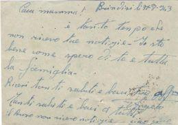 1943 DIFESA M.M. REPARTO N. 18/BRINDISI Tondo Bluastro Su Cartolina Franchigia - Niger (1960-...)