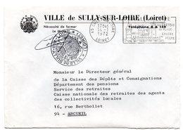 LOIRET - Dépt N° 45 = SULLY  Sur LOIRE 1972 = FLAMME SECAP  Illustrée ' CHATEAU / Plage - Chasse - Pêche 'FRANCHISE - Marcophilie (Lettres)