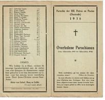 Oostende Gedachtenis Overleden Parochianen 1935 1936 St. Petrus En Paulus - Obituary Notices
