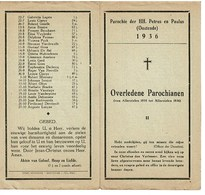 Oostende Gedachtenis Overleden Parochianen 1935 1936 St. Petrus En Paulus - Décès