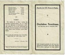 Oostende Gedachtenis Overleden Parochianen 1925 1926 St. Petrus En Paulus - Décès