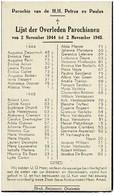 Oostende Gedachtenis Overleden Parochianen 1944 1945 St. Petrus En Paulus - Obituary Notices