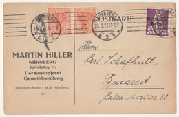 Martin Hiller Nürnberg Tierausstopferei Company Postcard Travelled 1921 To Bucarest B190210 - Allemagne