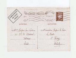 Carte Postale Entier Postal Pétain CAD Orléans Gare Loiret 1942. Mention Complément De Taxe Perçu. (1100x) - Marcophilie (Lettres)