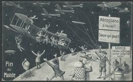 """CPA """" FIN DU MONDE """" Aéroplans à Louer ... Carte Officielle De Souvenir De La Fin Du Monde 19 Mai 1910 - Astronomie"""