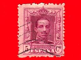SPAGNA - Usato - 1922 - Re Alfonso XIII - Ritratto Rivolto In Avanti - 5 - 1889-1931 Regno: Alfonso XIII