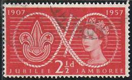 GB 1957 Yv. N°302 - Lord Baden-Powell Et Scoutisme - 2p1/2 Insigne Scout - Oblitéré - 1952-.... (Elizabeth II)