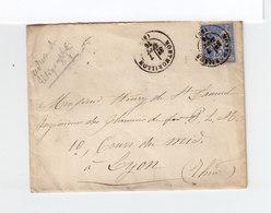 Sur Enveloppe Type Sage 25 C. Bleu CAD Montmorillon 1876. CAD Destination Lyon. (1101x) - Marcophilie (Lettres)