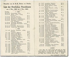 Oostende Gedachtenis Overleden Parochianen 1942 1943 St. Petrus En Paulus - Obituary Notices