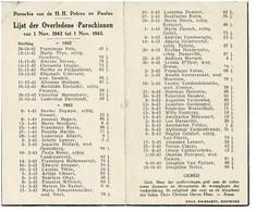 Oostende Gedachtenis Overleden Parochianen 1942 1943 St. Petrus En Paulus - Décès