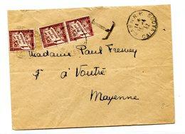 France, Lettre De CAEN R.P. 1942, Taxée à 3frs (Taxe N°40 X3) + Griffe Grand T - (B2117) - 1921-1960: Période Moderne