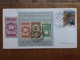 REPUBBLICA - 7° Centenario Dante Alighieri BF Erinnofilo Su Busta - Timbrato + Spese Postali - 6. 1946-.. Repubblica