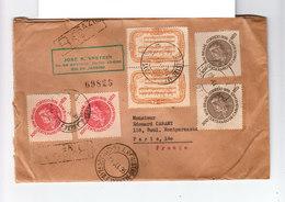 Sur Env. Recommandé Du Brésil Vers Paris Six Timbres Centenaire Naissance Carlos Gomez. CAD 1936. Cachets Cire. (1102x) - Brésil