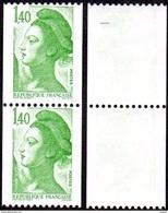 France N° 2191 **, Liberté De Gandon - Le 1.40 Fr De Roulette Verte En Paire - Neufs