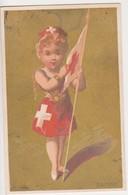 26840 Chromo Grande Maison Crebillon NANTES 44 France -  Mode Vetement Suisse Croix Drapeau Enfant - Autres