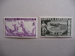 """Guinée Espagnole   1949  N° Y&T PA 12 + 309    """" Journée Du Timbre + 75 Ans U.P.U.""""  2v.  Neuf - Guinée Espagnole"""