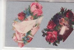 DECOUPIS / FLEURS / 2 BOUQUET DE ROSES  Mains   / GAUFREE : - Fleurs