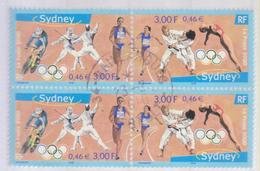 France 2000 OLYMPIC GAMES SYDNEY BF 4,  SHEETS WITH ROUND CANCEL  USED,  Cachet Rond Obliterate... - Oblitérés