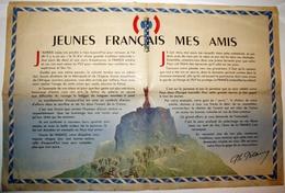 WW2 TRACT PROPAGANDE AFFICHE PÉTAINISTE VICHY DISCOURS JEUNES FRANCAIS MES AMIS SCOUTS LE PUY En VELAY 1942 - Historical Documents