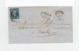 Sur Lettre AC  Type Empire Franc 20 C. Type II Oblitéré Losange. CAD Toulouse 1860. Cachet Après Le Départ. (1103x) - Marcophilie (Lettres)