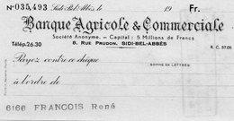 BANQUE AGRICOLE ET COMMERCE....SIDI-BEL-ABBES   ALGERIE..... - Chèques & Chèques De Voyage