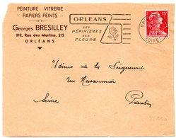 LOIRET - Dépt N° 45 = ORLEANS RP 1956 = FLAMME Non Codée =  SECAP  Illustrée D'une ROSE ' PEPINIERES / FLEURS' - Marcophilie (Lettres)