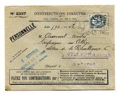 France, Type Blanc N°107 Sur Lettre Des Contributions Directes (1928 - Usage Tardif) - (B2118) - Marcophilie (Lettres)