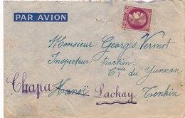 Lettre Par Avion 3F Mazelin Non Oblitéré Pour Hanoi Puis Laokay Et Chapa Tonkin - 1921-1960: Période Moderne