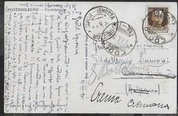 STORIA POSTALE REGNO - ANNULLO FRAZIONARIO EDOLO 12-76 SU CARTOLINA PER CURON-VENOSTA/BOLZANO 27.08.1930 - 1900-44 Vittorio Emanuele III