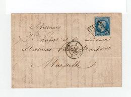 Sur Lettre AC  Type Empire Franc 20 C. Oblitéré Losange Petis Chiffr. CAD Lyon 1860Cachet Lyon Marseille. (1104x) - Marcophilie (Lettres)