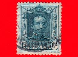 SPAGNA - Usato - 1925 - Re Alfonso XIII - Ritratto Rivolto In Avanti - 15 - 1889-1931 Regno: Alfonso XIII