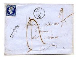 France, N°14 Sur Lettre, Taxe Manuscrite + Griffe Affranchissement Insuffisant - (B2119) - Marcophilie (Lettres)