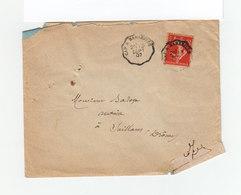 Sur Enveloppe Type Marianne Cachet Convoyeur 1907 Gap à Marseille. CAD Destination Saillans. (1105x) - Marcophilie (Lettres)